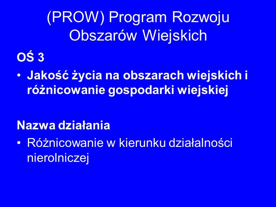 (PROW) Program Rozwoju Obszarów Wiejskich OŚ 3 Jakość życia na obszarach wiejskich i różnicowanie gospodarki wiejskiej Nazwa działania Różnicowanie w