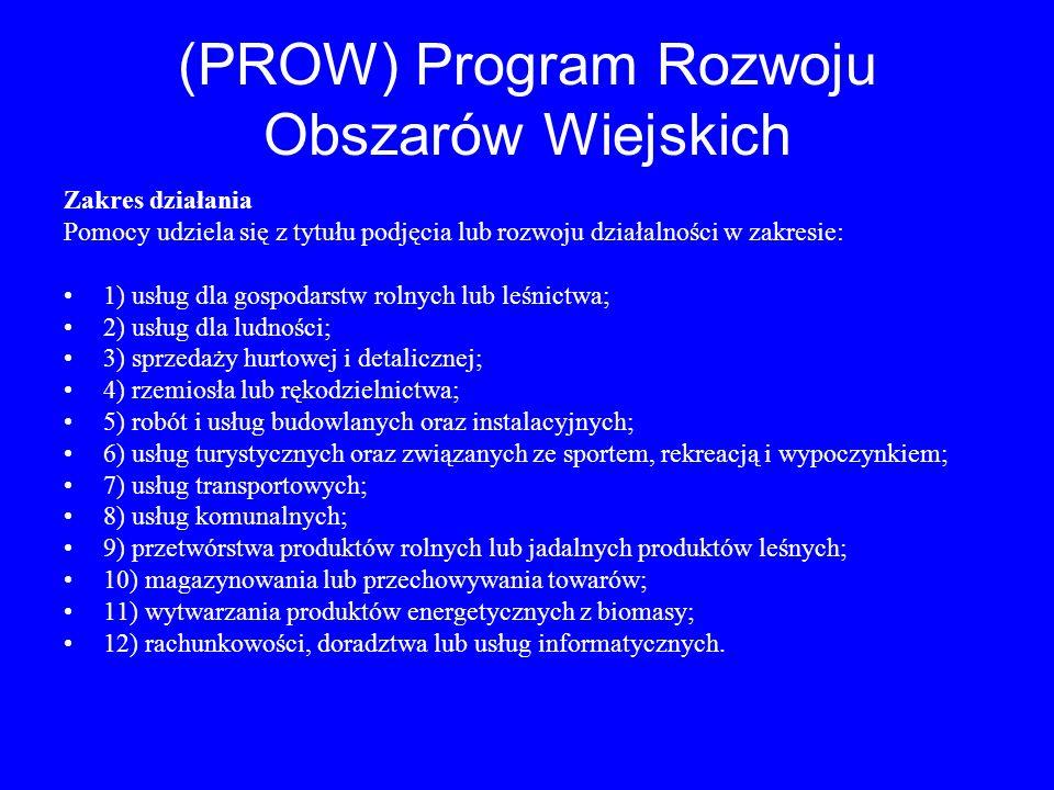 (PROW) Program Rozwoju Obszarów Wiejskich Zakres działania Pomocy udziela się z tytułu podjęcia lub rozwoju działalności w zakresie: 1) usług dla gosp