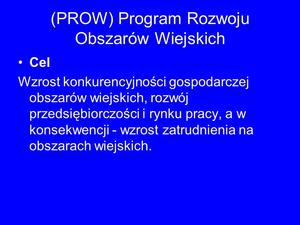 (PROW) Program Rozwoju Obszarów Wiejskich Cel Wzrost konkurencyjności gospodarczej obszarów wiejskich, rozwój przedsiębiorczości i rynku pracy, a w ko