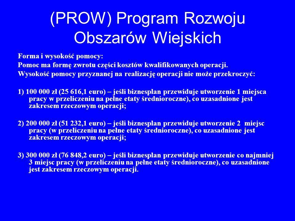 (PROW) Program Rozwoju Obszarów Wiejskich Forma i wysokość pomocy: Pomoc ma formę zwrotu części kosztów kwalifikowanych operacji. Wysokość pomocy przy