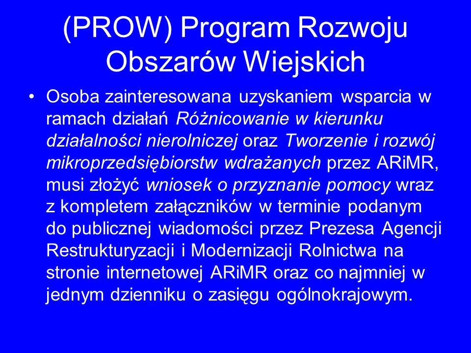 (PROW) Program Rozwoju Obszarów Wiejskich Osoba zainteresowana uzyskaniem wsparcia w ramach działań Różnicowanie w kierunku działalności nierolniczej
