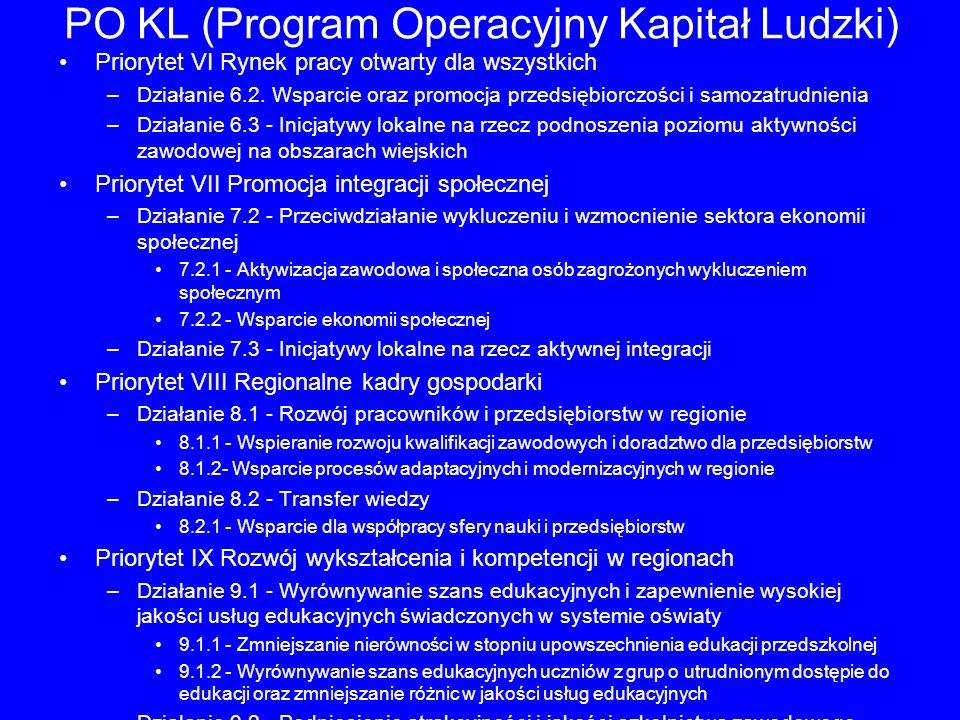 PO KL (Program Operacyjny Kapitał Ludzki) Priorytet VI Rynek pracy otwarty dla wszystkich –Działanie 6.2. Wsparcie oraz promocja przedsiębiorczości i