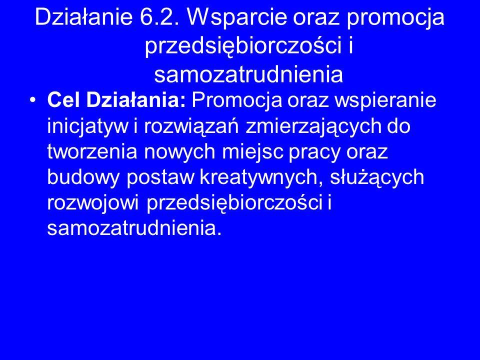 Działanie 6.2. Wsparcie oraz promocja przedsiębiorczości i samozatrudnienia Cel Działania: Promocja oraz wspieranie inicjatyw i rozwiązań zmierzającyc