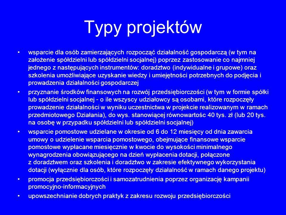 Typy projektów wsparcie dla osób zamierzających rozpocząć działalność gospodarczą (w tym na założenie spółdzielni lub spółdzielni socjalnej) poprzez z