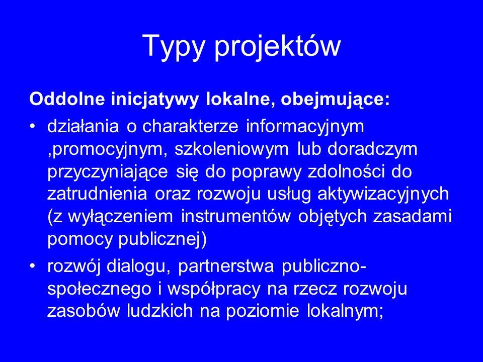Typy projektów Oddolne inicjatywy lokalne, obejmujące: działania o charakterze informacyjnym,promocyjnym, szkoleniowym lub doradczym przyczyniające si