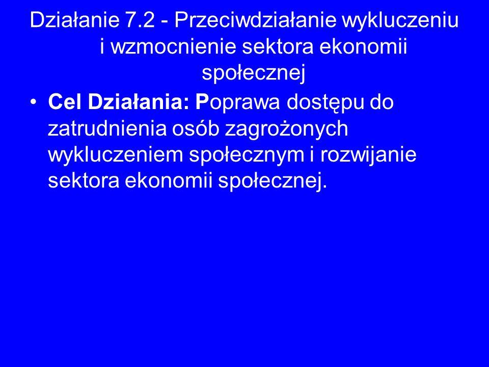 Działanie 7.2 - Przeciwdziałanie wykluczeniu i wzmocnienie sektora ekonomii społecznej Cel Działania: Poprawa dostępu do zatrudnienia osób zagrożonych