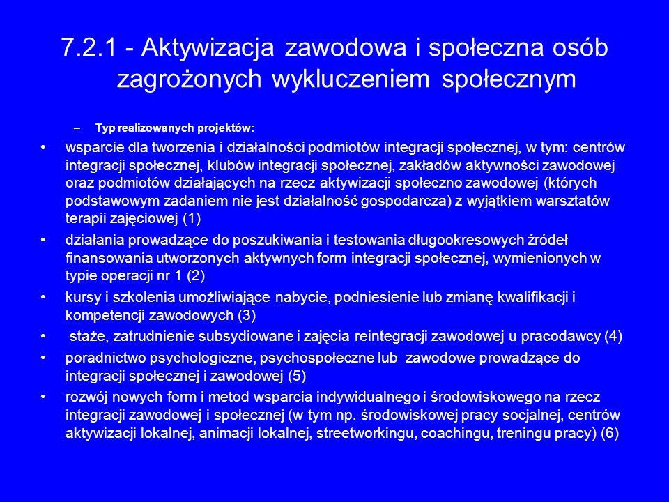 7.2.1 - Aktywizacja zawodowa i społeczna osób zagrożonych wykluczeniem społecznym –Typ realizowanych projektów: wsparcie dla tworzenia i działalności