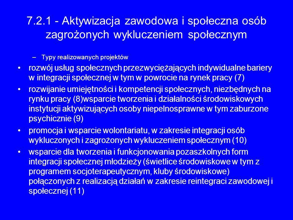 7.2.1 - Aktywizacja zawodowa i społeczna osób zagrożonych wykluczeniem społecznym –Typy realizowanych projektów rozwój usług społecznych przezwyciężaj