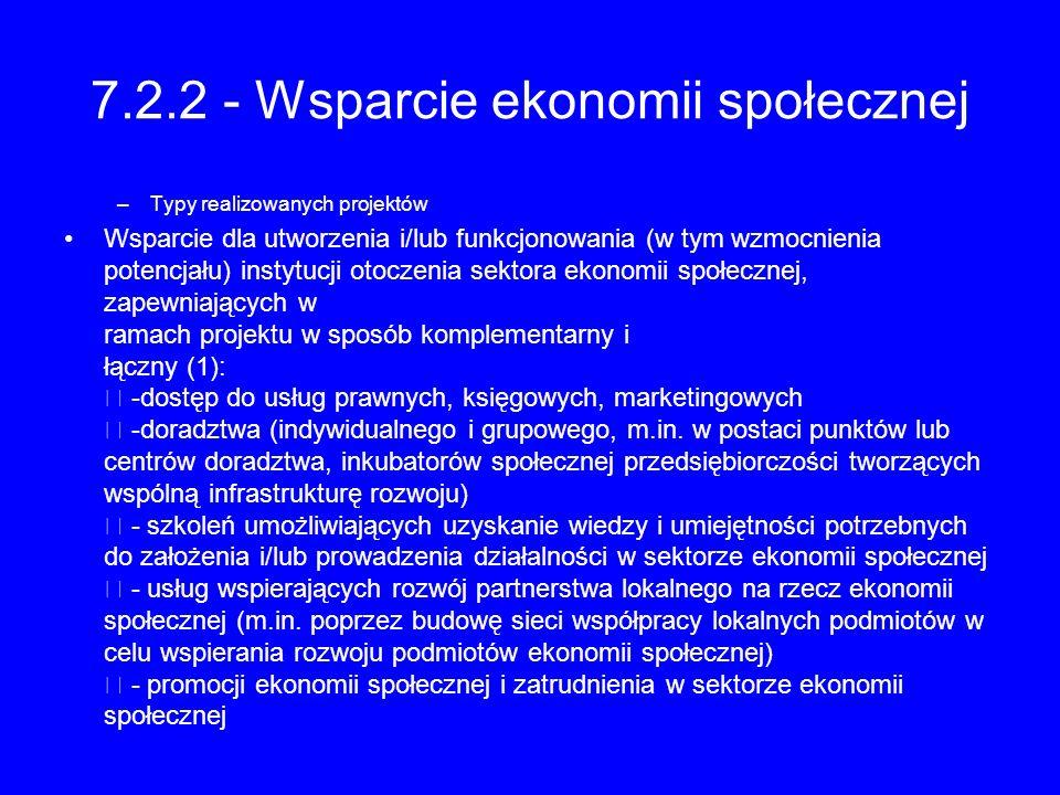 7.2.2 - Wsparcie ekonomii społecznej –Typy realizowanych projektów Wsparcie dla utworzenia i/lub funkcjonowania (w tym wzmocnienia potencjału) instytu