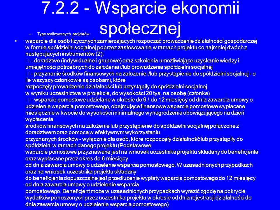 7.2.2 - Wsparcie ekonomii społecznej –Typy realizowanych projektów wsparcie dla osób fizycznych zamierzających rozpocząć prowadzenie działalności gosp