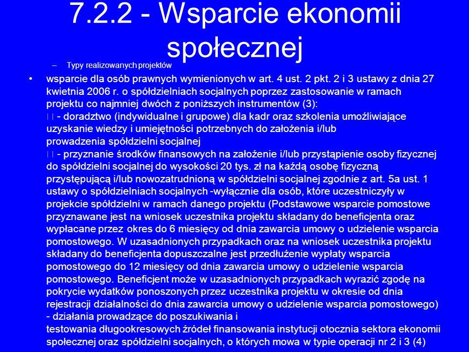 7.2.2 - Wsparcie ekonomii społecznej –Typy realizowanych projektów wsparcie dla osób prawnych wymienionych w art. 4 ust. 2 pkt. 2 i 3 ustawy z dnia 27