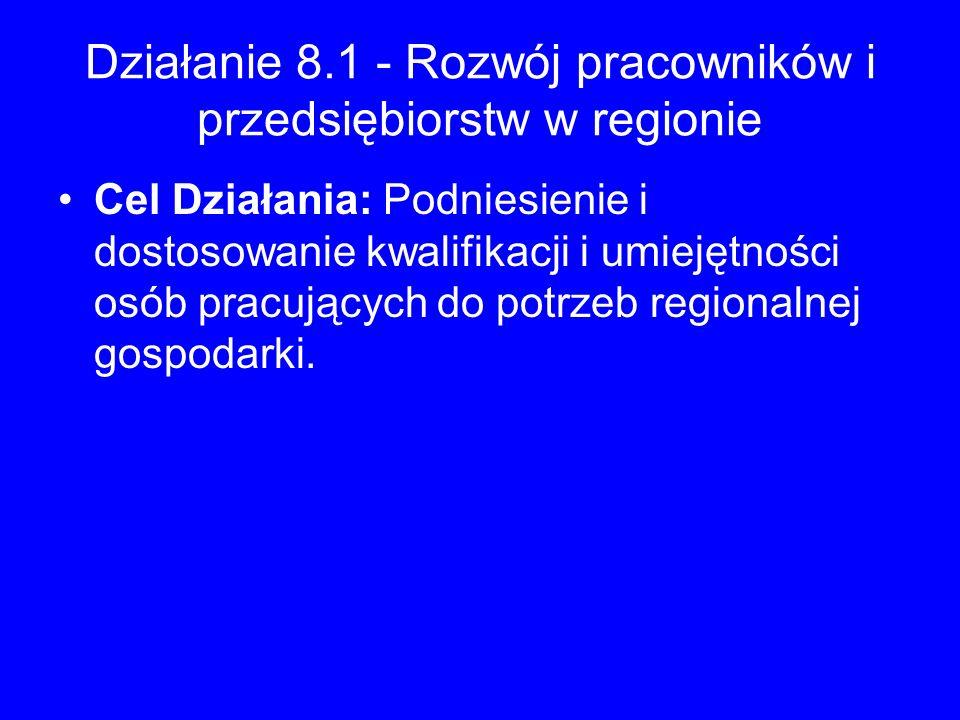 Działanie 8.1 - Rozwój pracowników i przedsiębiorstw w regionie Cel Działania: Podniesienie i dostosowanie kwalifikacji i umiejętności osób pracującyc