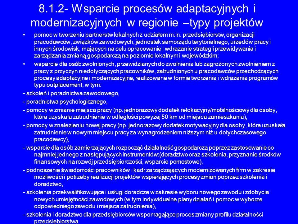 8.1.2- Wsparcie procesów adaptacyjnych i modernizacyjnych w regionie –typy projektów pomoc w tworzeniu partnerstw lokalnych z udziałem m.in. przedsięb