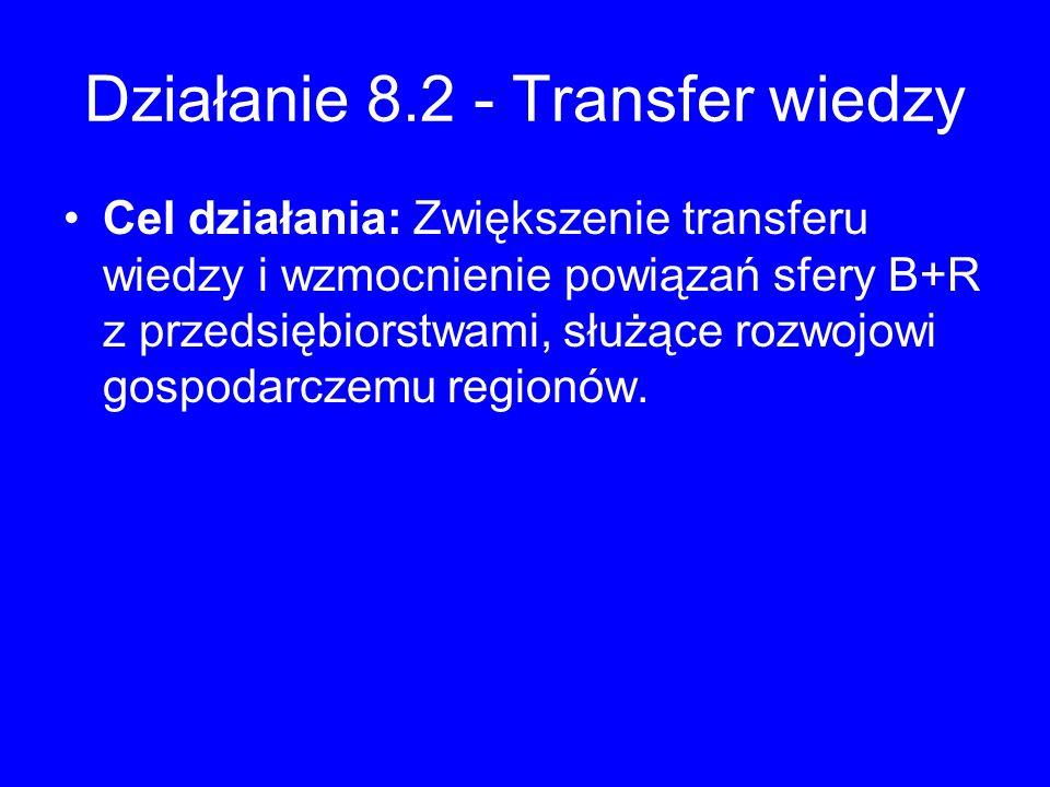 Działanie 8.2 - Transfer wiedzy Cel działania: Zwiększenie transferu wiedzy i wzmocnienie powiązań sfery B+R z przedsiębiorstwami, służące rozwojowi g
