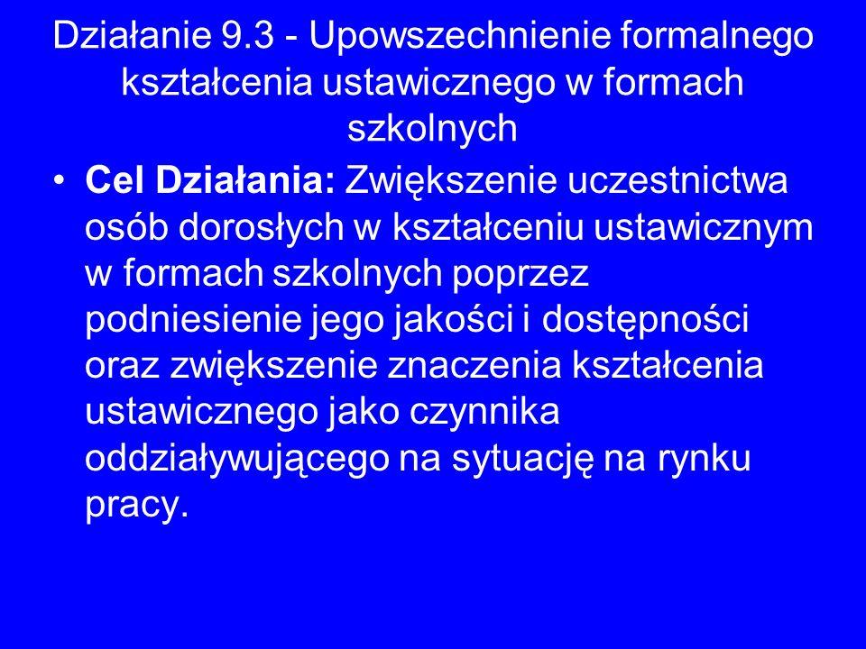 Działanie 9.3 - Upowszechnienie formalnego kształcenia ustawicznego w formach szkolnych Cel Działania: Zwiększenie uczestnictwa osób dorosłych w kszta