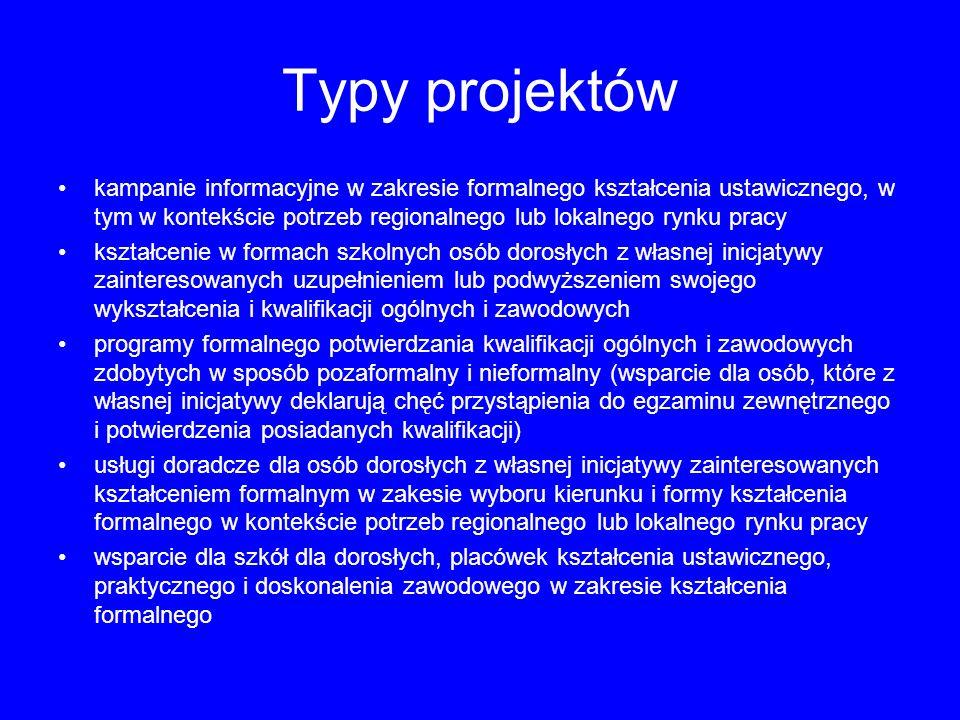 Typy projektów kampanie informacyjne w zakresie formalnego kształcenia ustawicznego, w tym w kontekście potrzeb regionalnego lub lokalnego rynku pracy