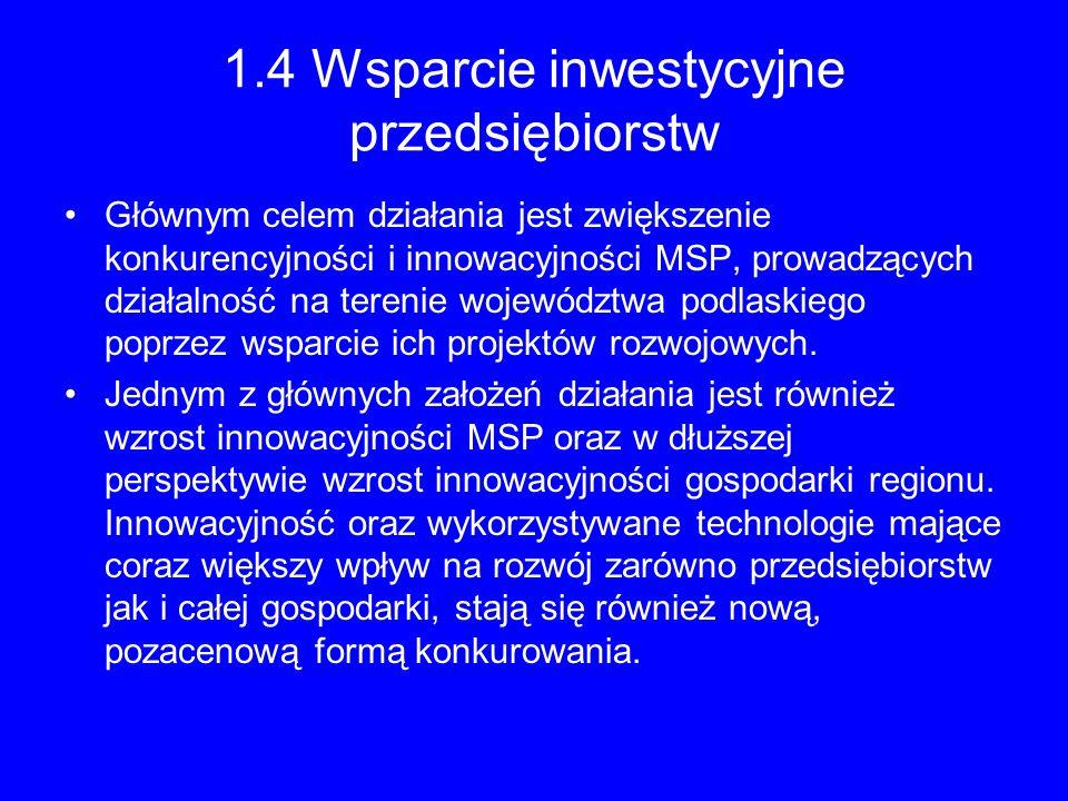 1.4 Wsparcie inwestycyjne przedsiębiorstw Głównym celem działania jest zwiększenie konkurencyjności i innowacyjności MSP, prowadzących działalność na