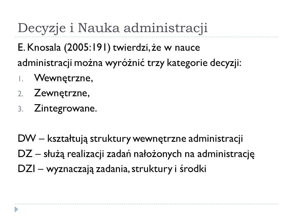 Decyzje i Nauka administracji E. Knosala (2005:191) twierdzi, że w nauce administracji można wyróżnić trzy kategorie decyzji: 1. Wewnętrzne, 2. Zewnęt
