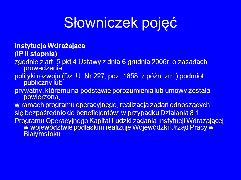 Słowniczek pojęć Instytucja Wdrażająca (IP II stopnia) zgodnie z art.