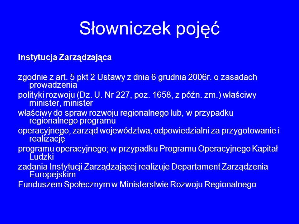 Słowniczek pojęć Instytucja Zarządzająca zgodnie z art.