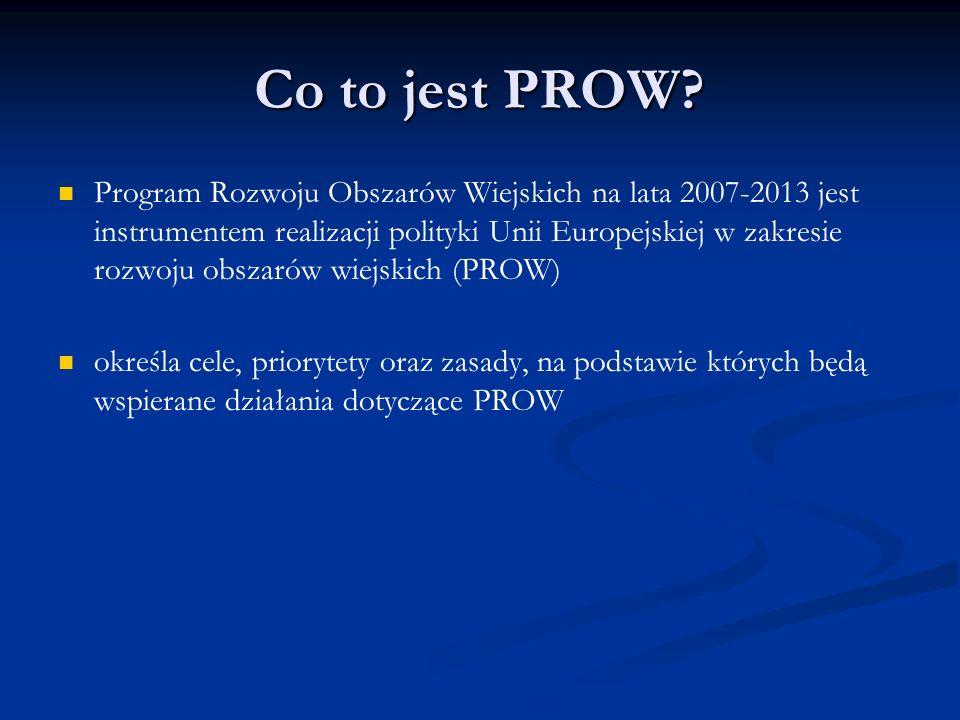 Co to jest PROW? Program Rozwoju Obszarów Wiejskich na lata 2007-2013 jest instrumentem realizacji polityki Unii Europejskiej w zakresie rozwoju obsza