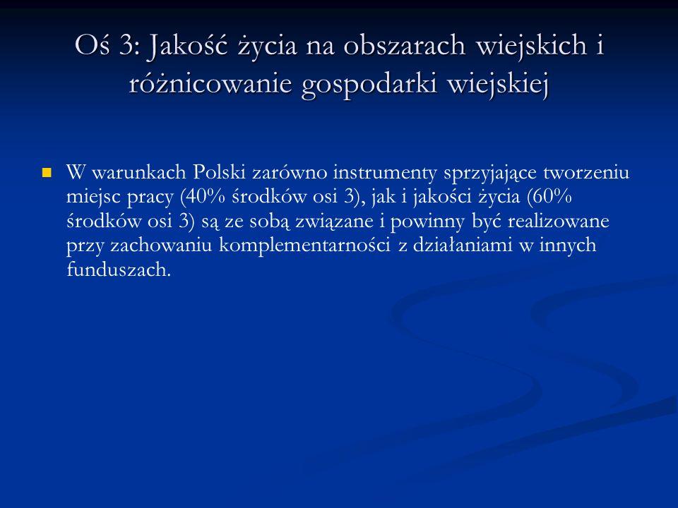 Oś 3: Jakość życia na obszarach wiejskich i różnicowanie gospodarki wiejskiej W warunkach Polski zarówno instrumenty sprzyjające tworzeniu miejsc prac