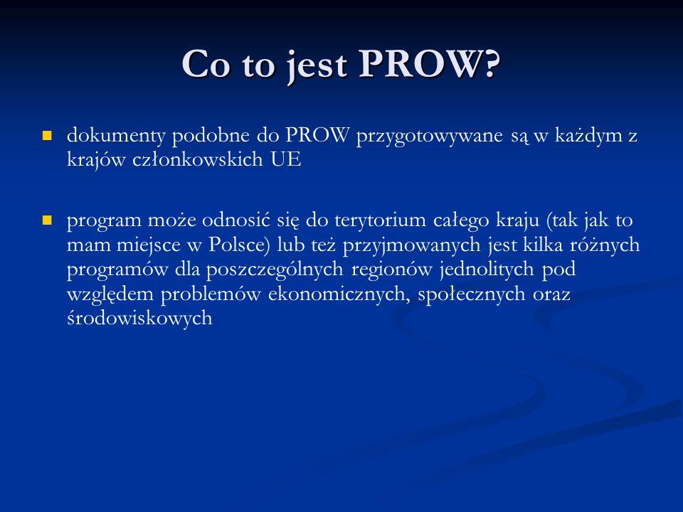 Co to jest PROW? dokumenty podobne do PROW przygotowywane są w każdym z krajów członkowskich UE program może odnosić się do terytorium całego kraju (t