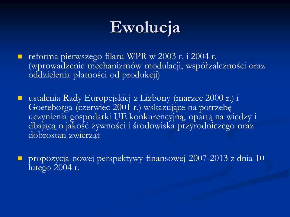 Ewolucja reforma pierwszego filaru WPR w 2003 r. i 2004 r. (wprowadzenie mechanizmów modulacji, współzależności oraz oddzielenia płatności od produkcj