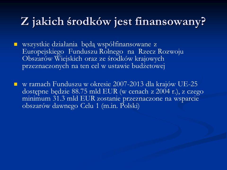 Z jakich środków jest finansowany? wszystkie działania będą współfinansowane z Europejskiego Funduszu Rolnego na Rzecz Rozwoju Obszarów Wiejskich oraz