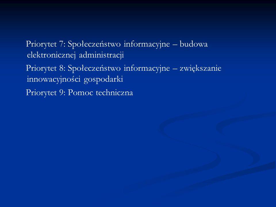 Priorytet 7: Społeczeństwo informacyjne – budowa elektronicznej administracji Priorytet 8: Społeczeństwo informacyjne – zwiększanie innowacyjności gos