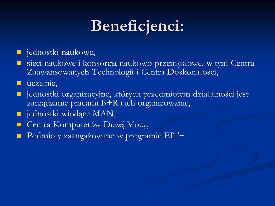 Beneficjenci: jednostki naukowe, sieci naukowe i konsorcja naukowo-przemysłowe, w tym Centra Zaawansowanych Technologii i Centra Doskonałości, uczelni