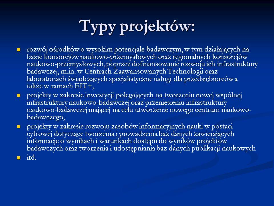 Typy projektów: rozwój ośrodków o wysokim potencjale badawczym, w tym działających na bazie konsorcjów naukowo-przemysłowych oraz regionalnych konsorc