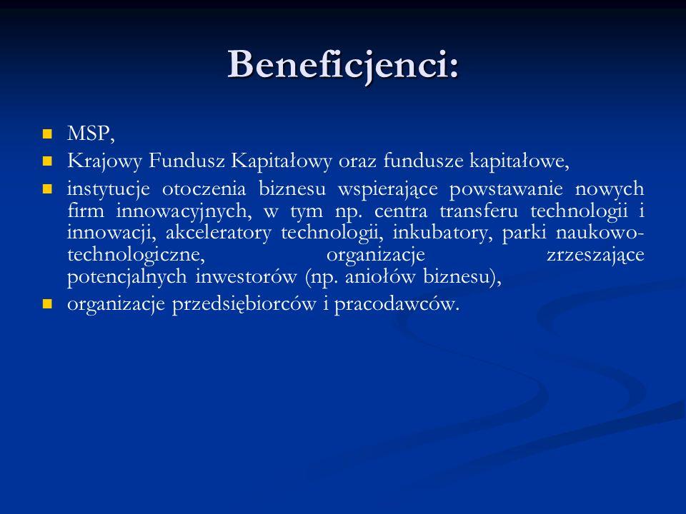 Beneficjenci: MSP, Krajowy Fundusz Kapitałowy oraz fundusze kapitałowe, instytucje otoczenia biznesu wspierające powstawanie nowych firm innowacyjnych