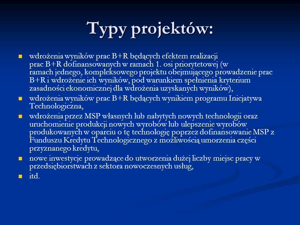 Typy projektów: wdrożenia wyników prac B+R będących efektem realizacji prac B+R dofinansowanych w ramach 1. osi priorytetowej (w ramach jednego, kompl