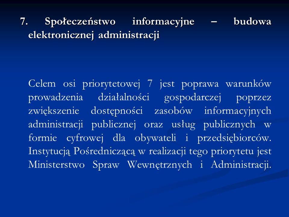 7. Społeczeństwo informacyjne – budowa elektronicznej administracji Celem osi priorytetowej 7 jest poprawa warunków prowadzenia działalności gospodarc