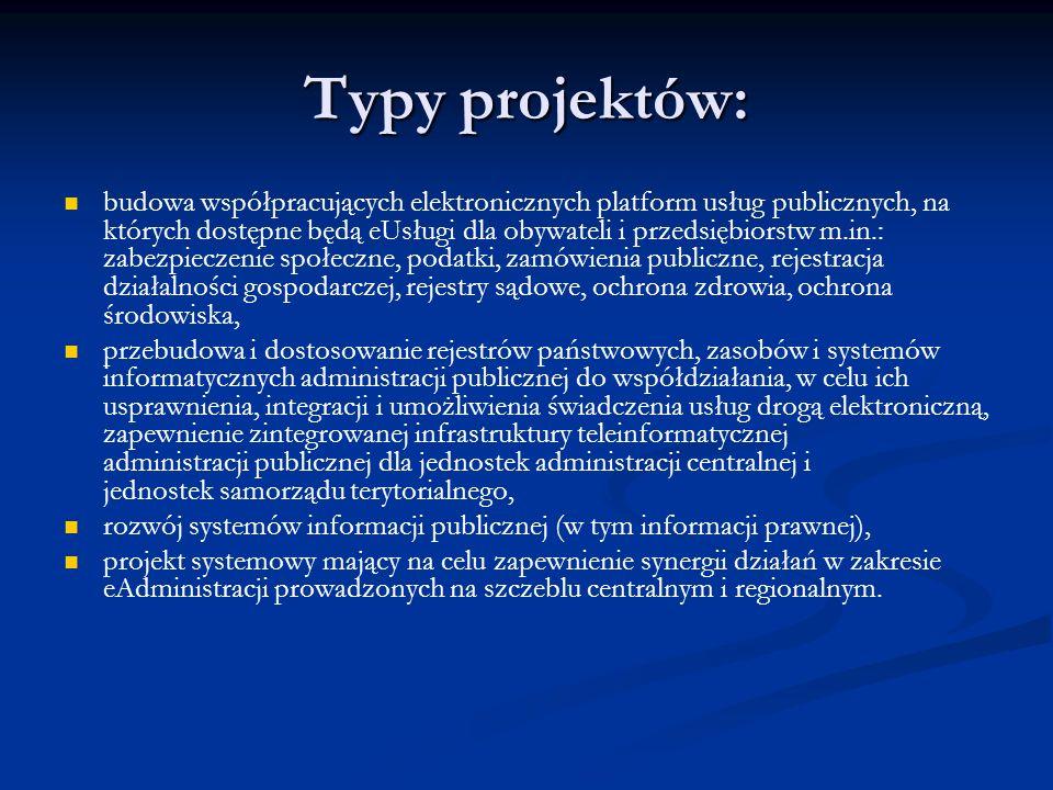 Typy projektów: budowa współpracujących elektronicznych platform usług publicznych, na których dostępne będą eUsługi dla obywateli i przedsiębiorstw m