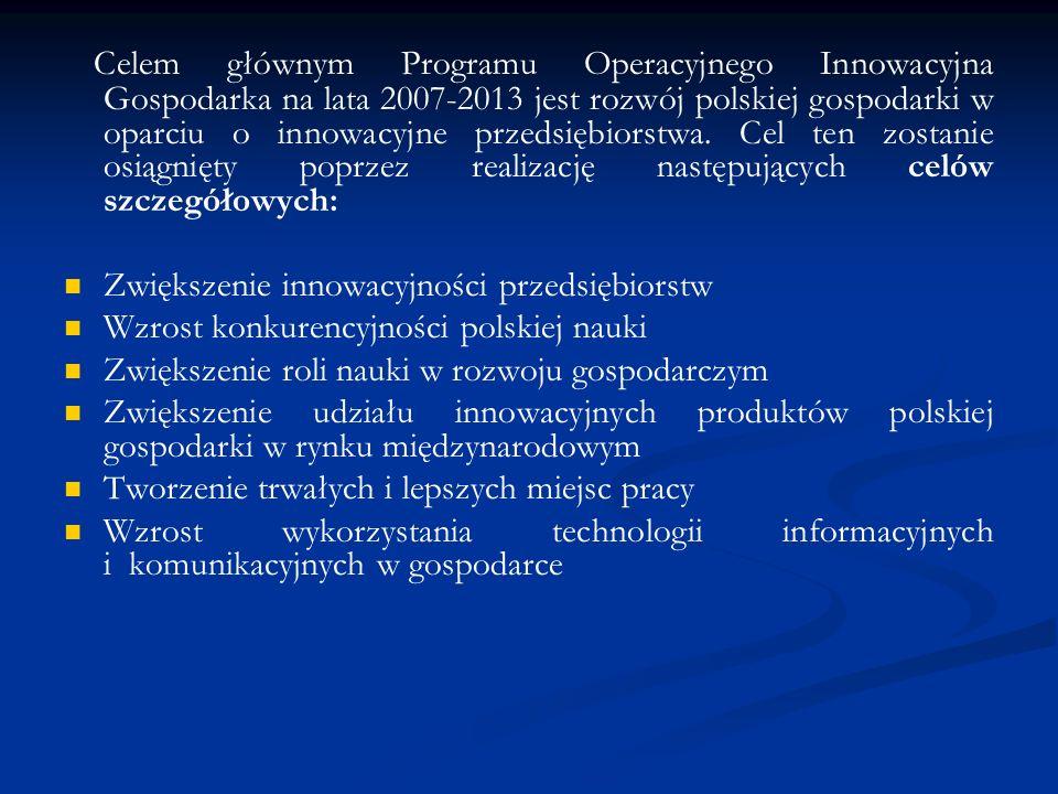 Celem głównym Programu Operacyjnego Innowacyjna Gospodarka na lata 2007-2013 jest rozwój polskiej gospodarki w oparciu o innowacyjne przedsiębiorstwa.