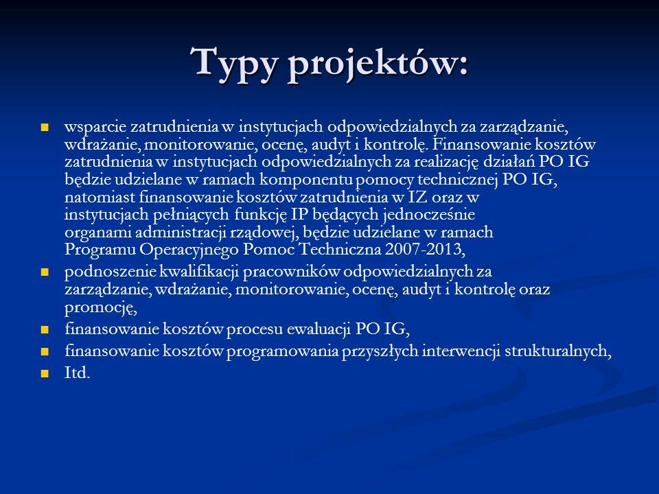 Typy projektów: wsparcie zatrudnienia w instytucjach odpowiedzialnych za zarządzanie, wdrażanie, monitorowanie, ocenę, audyt i kontrolę. Finansowanie