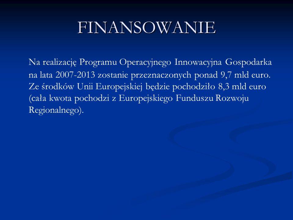 FINANSOWANIE Na realizację Programu Operacyjnego Innowacyjna Gospodarka na lata 2007-2013 zostanie przeznaczonych ponad 9,7 mld euro. Ze środków Unii