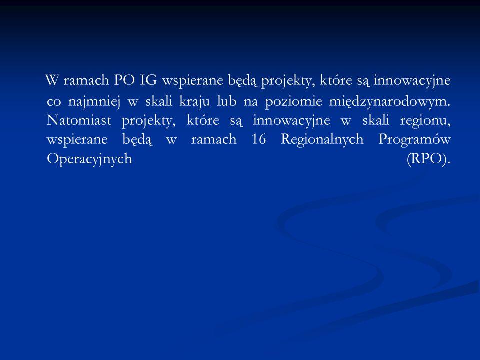 W ramach PO IG wspierane będą projekty, które są innowacyjne co najmniej w skali kraju lub na poziomie międzynarodowym. Natomiast projekty, które są i