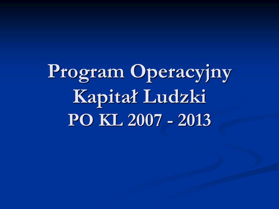 Informacje ogólne Środki finansowe zaangażowane w realizację Programu Operacyjnego Kapitał Ludzki w latach 2007 – 2013: Środki finansowe zaangażowane w realizację Programu Operacyjnego Kapitał Ludzki w latach 2007 – 2013: - 14,43% całości środków przeznaczonych na realizację programów operacyjnych, tj.