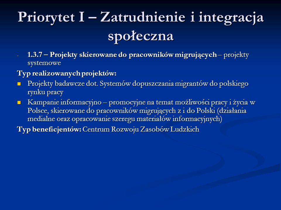 Priorytet I – Zatrudnienie i integracja społeczna - 1.3.7 – Projekty skierowane do pracowników migrujących – projekty systemowe Typ realizowanych proj