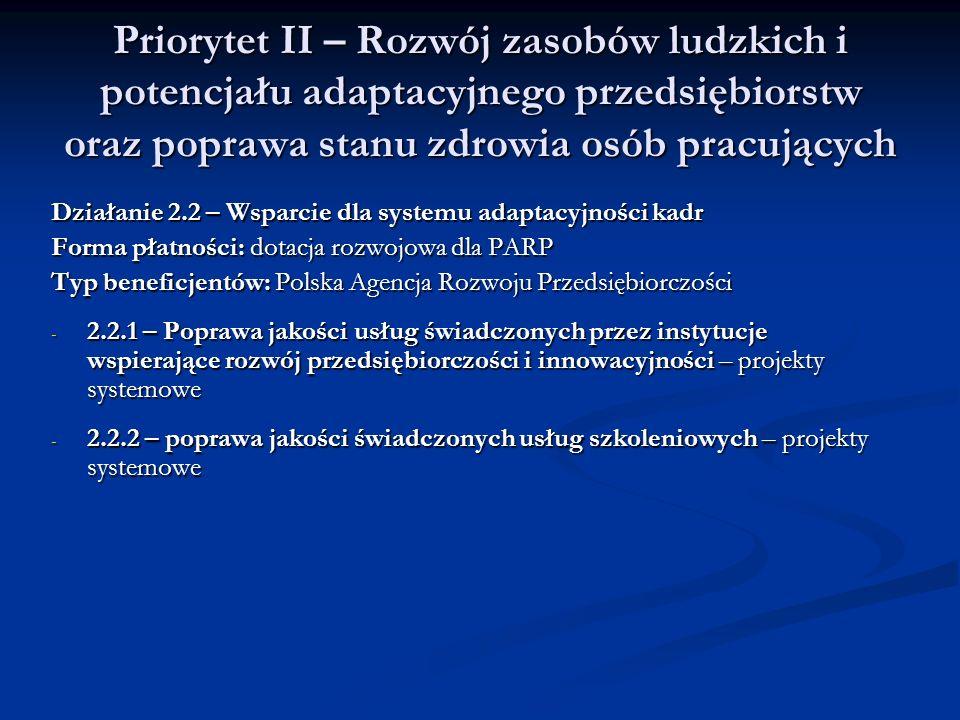 Priorytet II – Rozwój zasobów ludzkich i potencjału adaptacyjnego przedsiębiorstw oraz poprawa stanu zdrowia osób pracujących Działanie 2.2 – Wsparcie