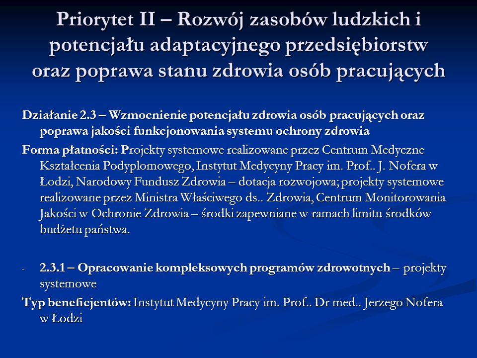 Priorytet II – Rozwój zasobów ludzkich i potencjału adaptacyjnego przedsiębiorstw oraz poprawa stanu zdrowia osób pracujących Działanie 2.3 – Wzmocnie