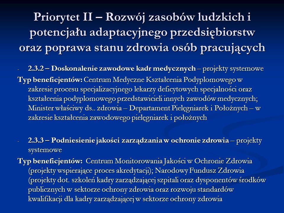 Priorytet II – Rozwój zasobów ludzkich i potencjału adaptacyjnego przedsiębiorstw oraz poprawa stanu zdrowia osób pracujących - 2.3.2 – Doskonalenie z
