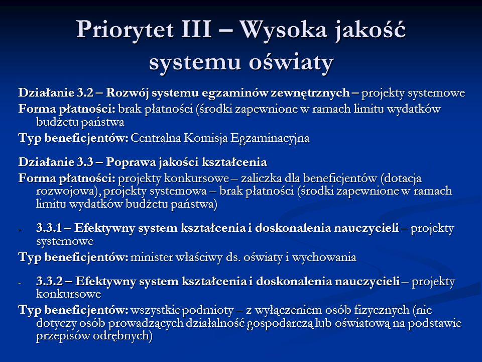 Priorytet III – Wysoka jakość systemu oświaty Działanie 3.2 – Rozwój systemu egzaminów zewnętrznych – projekty systemowe Forma płatności: brak płatnoś