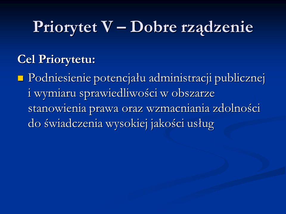 Priorytet V – Dobre rządzenie Cel Priorytetu: Podniesienie potencjału administracji publicznej i wymiaru sprawiedliwości w obszarze stanowienia prawa