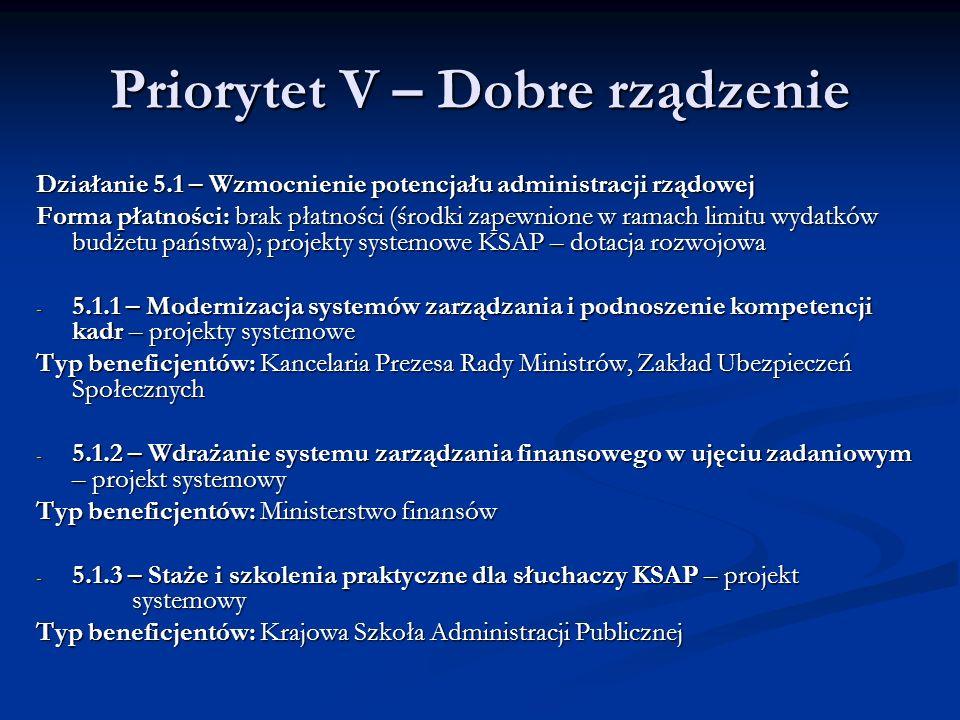 Priorytet V – Dobre rządzenie Działanie 5.1 – Wzmocnienie potencjału administracji rządowej Forma płatności: brak płatności (środki zapewnione w ramac
