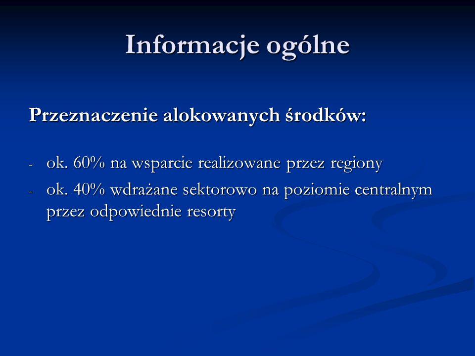 Informacje ogólne Przeznaczenie alokowanych środków: - ok. 60% na wsparcie realizowane przez regiony - ok. 40% wdrażane sektorowo na poziomie centraln