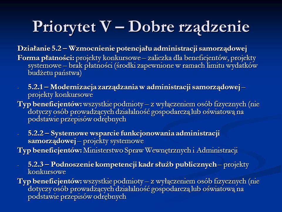 Priorytet V – Dobre rządzenie Działanie 5.2 – Wzmocnienie potencjału administracji samorządowej Forma płatności: projekty konkursowe – zaliczka dla be
